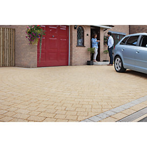 Image of Marshalls Drivesett Argent Textured Driveway Block Paving Pack Mixed Size - Buff 10.75 m2