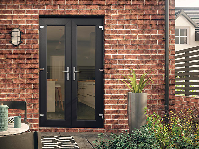 Euramax UPVC French Door Grey Outwards Opening