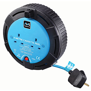Image of Masterplug 2 Socket Small Cassette Reel - Blue 4m 10A