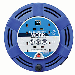 Image of Masterplug 4 Socket Medium Cassette Reel - Blue 8m 10A