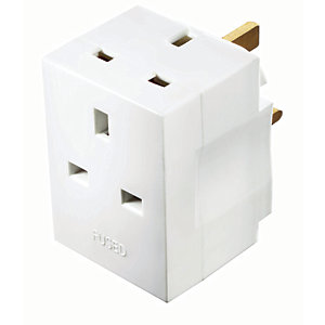 Image of Masterplug 3 Way Fused Socket Adaptor - White 13A