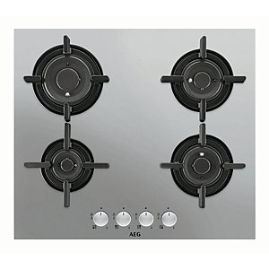 Image of AEG 60cm 4 Burner Gas Hob Stainless Steel HG654820UMSS