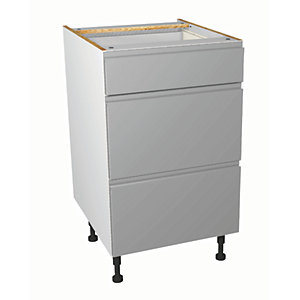Wickes Madison Grey Gloss Handleless Drawer Unit - 500mm