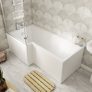 Wickes Veroli L Shaped Front Bath Panel - White 1500mm