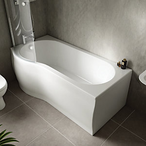 Wickes Valsina P Shaped Front Bath Panel - White 1500mm