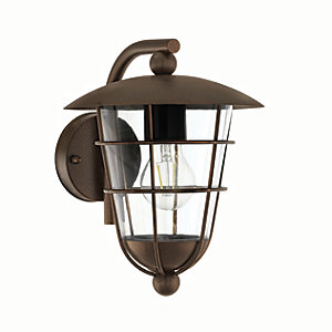 Image of Eglo Pulfero 1 Brown Outdoor Traditional Down Lantern Wall Light - 60W E27
