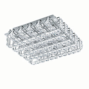 Image of Eglo Lonzaso LED Polished Chrome & Crystal Square Ceiling Light - 8 x 3.3W