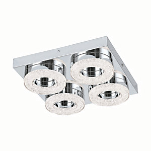 Image of Eglo Fradelo LED Chrome & Crystal Square & Hoop Flush Ceiling Light - 4 x 4W