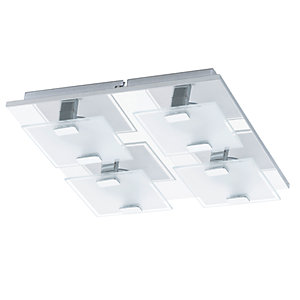 Eglo Vicaro LED Chrome 4 Lamp Square Flush Wall & Ceiling Light - 4 x 2.5W
