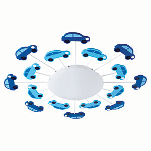 Eglo Childrens Ceiling Light Blue Cars - E27
