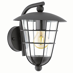 Eglo Pulfero Black Outdoor Traditional Down Lantern Wall Light - 60W E27