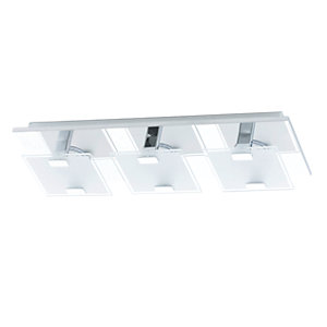 Eglo Vicaro LED Chrome 3 Lamp Square Flush Wall & Ceiling Light - 3 x 2.5W