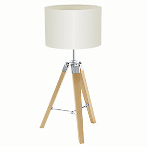 Image of Eglo Lantada Tripod Wood Table Lamp Beige - 60W E27