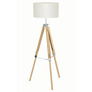 Image of Eglo Lantada Tripod Wood Floor Lamp Beige - 60W E27
