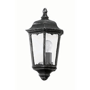 Eglo Navedo LED Black & Silver Finish Outdoor Flush Wall Light - 60W E27