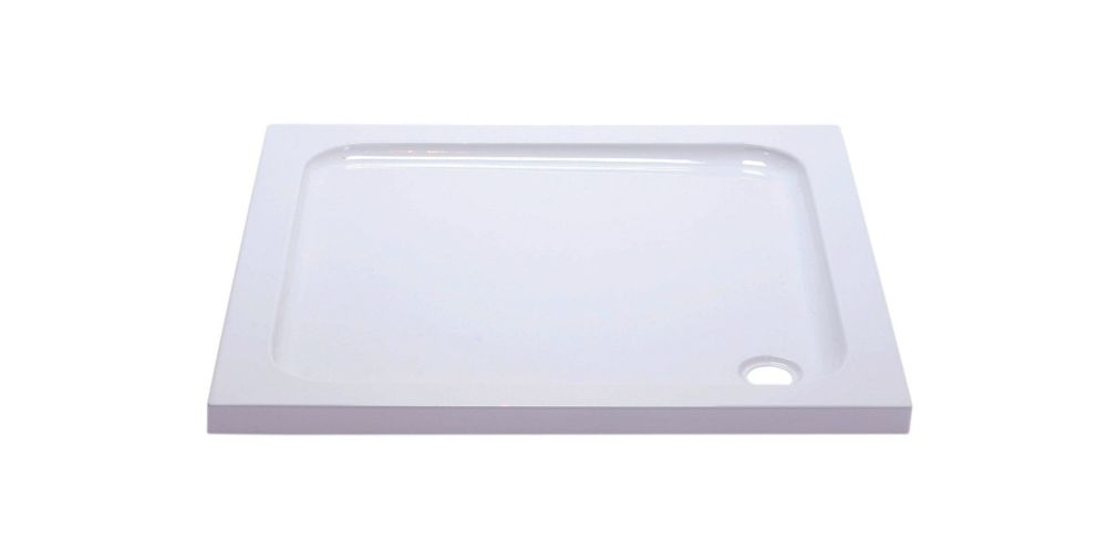 Wickes 800mm x 800mm - Square Cast Stone Shower Tray - White