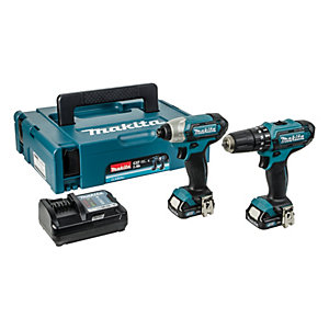 Makita CLX202AJ 10.8V Cordless Combi & Impact Driver Kit with 2 Li-ion Batteries