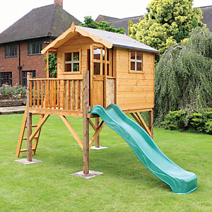 Mercia 12 x 5 ft Timber Poppy Playhouse with Tower & Slide