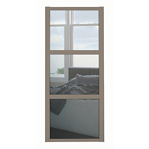 Spacepro Shaker 3 Panel Stone Grey Frame Mirror Door