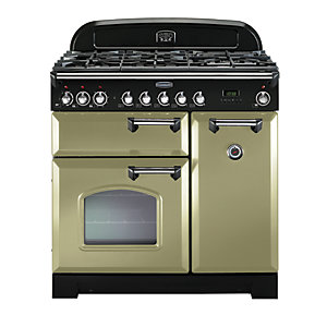 Image of Rangemaster Classic Deluxe 90 Dual Fuel Range Cooker - Olive Green with Brass Trim