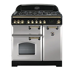 Image of Rangemaster Classic Deluxe 90 Dual Fuel Range Cooker - Royal Pearl with Brass Trim