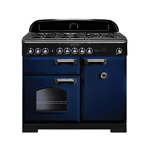 Image of Rangemaster Classic Deluxe 100 Dual Fuel Range Cooker - Regal Blue with Brass Trim
