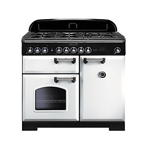 Image of Rangemaster Classic Deluxe 100 Dual Fuel Range Cooker - White with Brass Trim