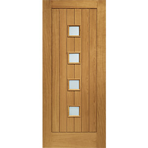 XL Siena External Oak Veneer Left Handed Fully Finished Door Set 2067 x 926mm