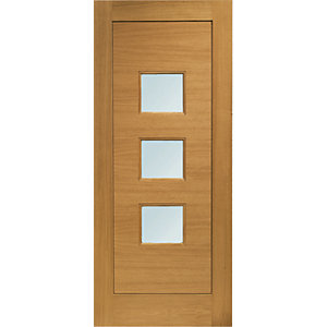 XL Turin External Oak Veneer Left Handed Fully Finished Door Set 2067 x 926mm