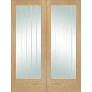 XL Suffolk Internal Oak Veneer Door Pair with Clear Etched Glaze 1981 x 584mm