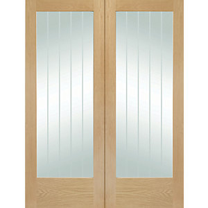 XL Joinery Suffolk 1981mm X 686mm Fully Glazed Internal French Doors Oak