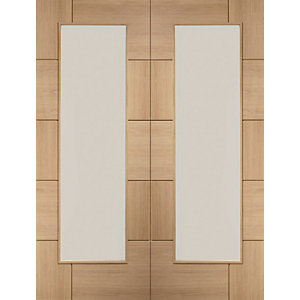 XL Ravenna Internal Oak Veneer Fully Finished Door Pair with Clear Glaze 1981 x 762mm