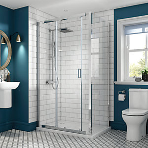 Wickes Florence 1200 x 900mm - Sliding Shower Enclosure - Chrome