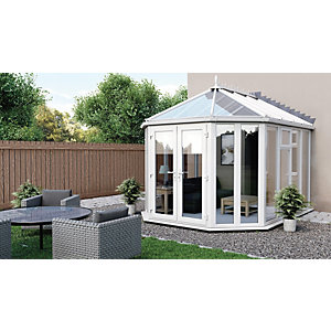 Euramax Victorian Glass Roof Full Glass Conservatory 10 X 13 Ft