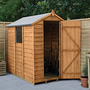 Forest Garden Small Apex Overlap Dip Treated Garden Shed - 6 x 4 ft with Assembly