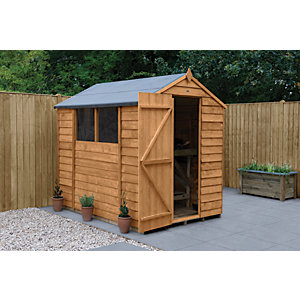 Image of Forest Garden Apex Overlap Dip Treated Shed - 7 x 5 ft with Assembly