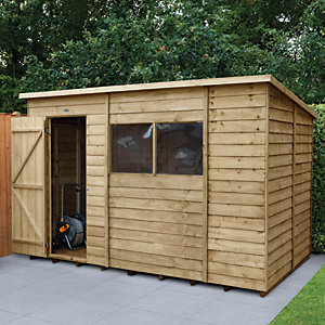 Image of Forest Garden 10 x 6 ft Pent Overlap Pressure Treated Shed with Assembly