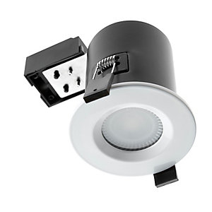 Wickes Fire Rated White Shower Light Fitting with Warm White Cob LED - 5W GU10