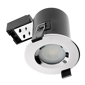 Wickes Fire Rated Chrome Shower Light Fitting with Cool White Cob LED - 5W GU10