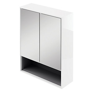 Wickes Eli White Gloss Wall Hung Mirror Storage Unit - 600 mm