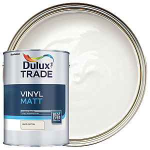 Dulux Trade Vinyl Matt Emulsion Paint - White Cotton 5L