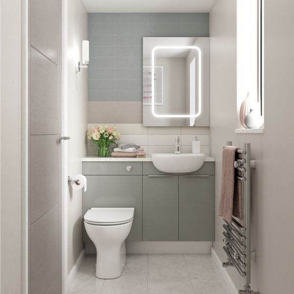 Wickes Vienna Grey Gloss on White Fitted Compact Toilet Unit - 600 x 735mm