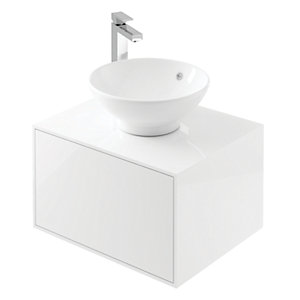 Wickes Eli White Gloss Wall Hung Unit - 600 mm