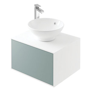 Wickes Eli White Matt & Fjord Wall Hung Unit - 600 mm
