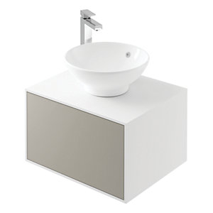 Wickes Eli White Matt & Stone Grey Wall Hung Unit - 600 mm