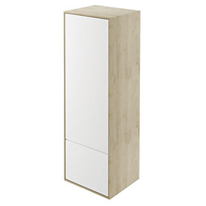 Wickes Eli Oak & White Matt Wall Hung Tall Tower Unit - 400 mm