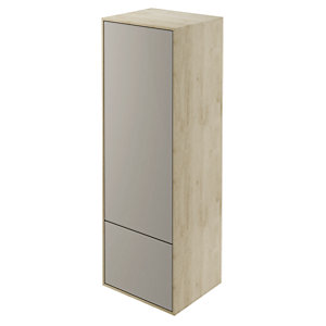 Wickes Eli Oak & Stone Grey Wall Hung Tall Tower Unit - 400 mm
