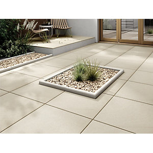 Marshalls Sawn Sandstone Smooth Buff Multi Paving Slab 600 x 600 x 22 mm