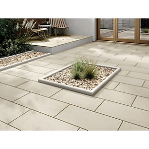 Marshalls Sawn Sandstone Smooth Buff Multi Paving Slab 600 x 300 x 22 mm