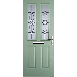 Euramax 2 Panel 2 Square Chartwell Green Left Hand Composite Door